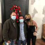 2020 company Christmas party wearing mask to stop spread of Covid