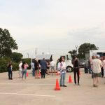 Outdoor party venue offers place for food trucks.